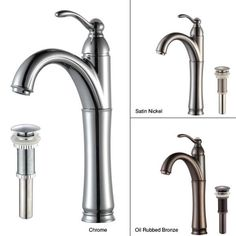 KRAUS Riviera Single Hole Single-Handle Vessel Bathroom Faucet with Matching Pop-Up Drain in Chrome