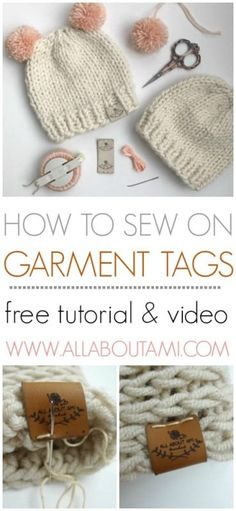 Learn how to sew foldover garment tags onto finished knit and crochet items!  Step-by-step tutorial and video available!