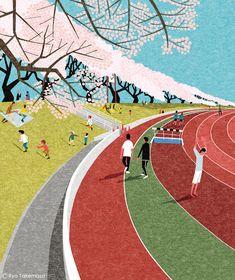 武政 諒 Ryo Takemasa | News & Blog : 武蔵野市が発行する『季刊むさしの』春号の表紙イラストレーションを担当しました。 今号で描いたのは武蔵野陸上競技場の桜です。 Cover illustration for Quarterly Magazine Musashino, spring of 2014 issue.