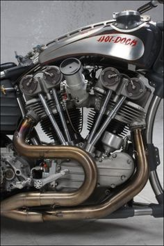 AMD World Championship, Hot-Dock Custom Cycles, bike details & gallery American Motorcycles, Vintage Motorcycles, Custom Motorcycles, Custom Bikes, Cars And Motorcycles, Vintage Cafe Racer, Bike Details, Motorcycle Posters, Harley Bobber