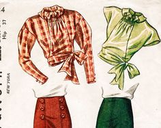 1930s 30s Vintage Sewing Pattern three piece suit skirt blouse