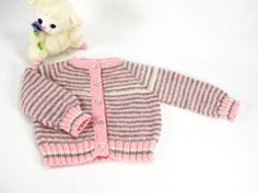 Merino/Angora Baby Girl Striped Cardigan Sweater, Pink ,Grey, Off-White, 0-3 Months, Very Warm, Soft, Hand Knit, Seamless, READY TO SHIP by SusansTimelessKnits on Etsy