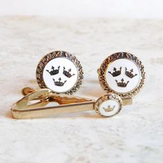 Vintage White Enamel Crown-Themed Cuff Links and Tie Clasp Set