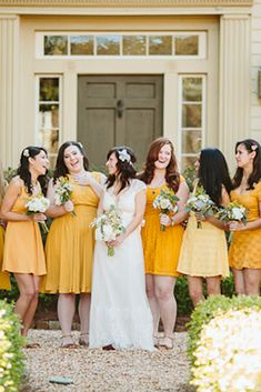 12 Yellow Bridesmaid Dresses For Bright Celebration ❤ yellow bridesmaid dresses short mustard ben and colleen ❤ Full gallery: https://weddingdressesguide.com/yellow-bridesmaid-dresses/ #bridal #bridesmaiddresses