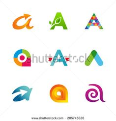 Set of letter A logo icons design template elements. Collection of vector signs.