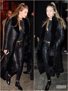 Gigi Hadid and Zayn Malik were seen leaving heading out on Tuesday evening for another date night in NYC Gigi, 20, looked gorgeous in her skin-tight black trousers teamed with a chic long-line fur and leather coat.