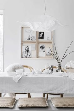 all white Easter decorations photos by Sara Medina Lind styled beautifully by Pella Hedeby och Marie Ramse Wabi Sabi, Decorating Your Home, Interior Decorating, Decorating Ideas, Pella Hedeby, Easter Table Settings, Deco Table, Home And Deco, Style At Home