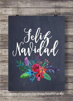Feliz Navidad chalkboard watercolor flowers Christmas carol - Printable Xmas decor wall art - digital print