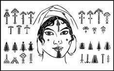 North Africa, The Middle East and Balkans-Tunisian Berber facial tattoos ca. 1920. Palm tree motifs nahla often in the form of chin markings were thought to induce fertility.