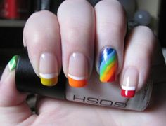 Nail Art///Rainbow Tips