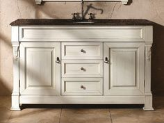 60 Inch Bathroom Vanity with Cottage White Finish