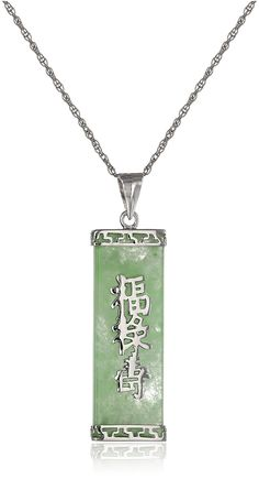 Rhodium-Plated Sterling Silver  Jade 'Good Fortune, Prosperity, and Longevity' Pendant Necklace >>> Read more reviews of the product by visiting the link on the image. (This is an Amazon Affiliate link and I receive a commission for the sales)