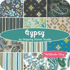 Gypsy Fat Quarter Bundle Skipping Stones Studio for Clothworks Fabrics - Fat Quarter Shop