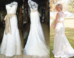 One shoulder  Wedding dress,Lace wedding Gown, Bridal Gown with sweep train, CUSTOM on Etsy, $234.99