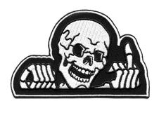 Creeping Skeleton Patch - Pocket Creep Embroidered Patch, Skull, Middle Finger by DumbJunk on Etsy https://www.etsy.com/listing/268987121/creeping-skeleton-patch-pocket-creep