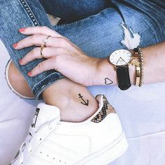 Even small tattoos are a large decision. And despite the size small tattoos can make a statement. We've put together a list of the best small tattoos with deeper symbolic meanings. Anchor Tattoo Ankle, Ankle Tattoo Small, Cool Small Tattoos, Little Tattoos, Mini Tattoos, Trendy Tattoos, Cool Tattoos, Tatoos, Wrist Tattoo
