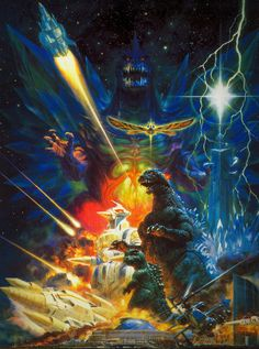 Godzilla movie posters by Noriyoshi Ohrai