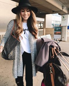"""""""lots of layers for today's travel look ✈️ outfit details found here: www.liketk.it/2ajOs #airportfashion #layers #goyard"""""""