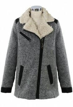 Shearing Wool Tweed Coat in Grey