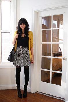 Have: mustard cardigan, tights, otk socks, black t shirt Need: black wedge booties, neutral grey skirt