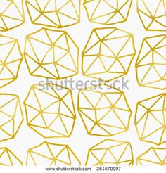 Elegant and stylish seamless repeat pattern with polygonal shapes. Golden foil effect design on white background.