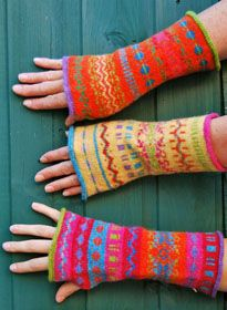 Felted Fair Isle Felted gloves and wrist warmers, bags and shawls hand-framed in Salhouse, Norwich.
