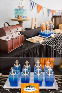 Pirate Themed Dessert Table for Boys Birthday Party Anchor Birthday, Pirate Birthday, Pirate Theme, 5th Birthday, 3 Year Old Birthday Party Boy, Birthday Party Themes, Birthday Ideas, Theme Parties, Birthday Invitations
