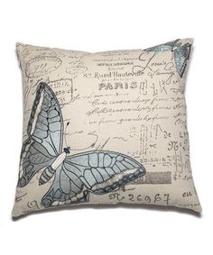 Another great find on #zulily! Blue Butterfly Embroidered Throw Pillow by GANZ #zulilyfinds