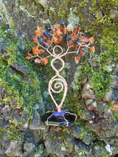 October Colors Halloween Twisted Wire Tree Goddess Statue With Obsidian and Carnelian