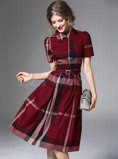 British Hit Color Grid Print Lapel A-Line Dress With Belt