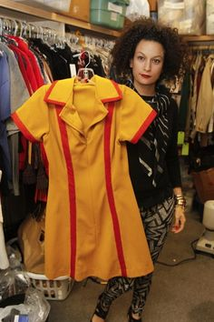 """""""The inspiration behind them was uniform, very of-the-times. The fabric is all vintage fabric that's been closed out"""" ~ 2 Broke Girls ~ Behind the Scenes Girl Costumes, Halloween Costumes, Halloween 2014, Halloween Ideas, Costume Ideas, Two Broke Girl, Comfy Armchair, Girls Uniforms, Best Tv Shows"""