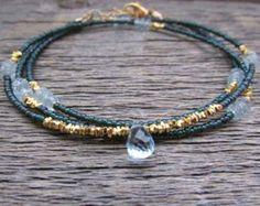 blue topaz bracelet hill tribe gold bracelet by earthwatersol Beaded Wrap Bracelets, Gemstone Bracelets, Handmade Bracelets, Jewelry Bracelets, Jewelery, Geek Jewelry, Bohemian Bracelets, Crystal Jewelry, Beaded Jewelry