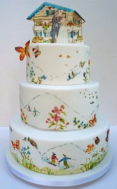 Incredible, funny and unusual wedding cakes! The wedding cake is something that everyone is waiting impatiently in the banquet hall. Unusual Wedding Cakes, Floral Wedding Cakes, Unique Cakes, Creative Cakes, Gorgeous Cakes, Pretty Cakes, Amazing Cakes, Painted Wedding Cake, Hand Painted Cakes