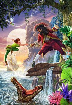 Peter pan wall art - painting - peter pan and captain hook by mgl meiklejohn graphics Peter Pan Art, Peter Pan Kunst, Art Disney, Disney Kunst, Disney Collage, Disney And Dreamworks, Disney Pixar, Cinderella Disney, Disney Peter Pan
