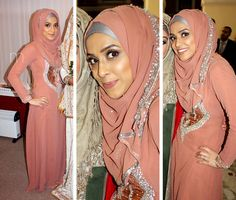 Proof that an unlikely palette can turn into a sure hit! Mauve, silver, and a whole lot of dazzle is genius.  I love the cut of the dress and it's perfect for Eid in the summer. - Habiba West