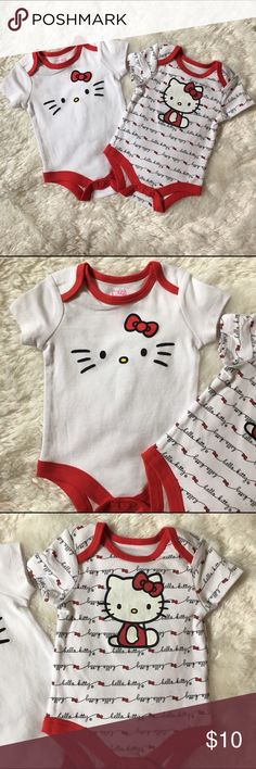 Hello Kitty Onesies Bodysuits NWOT 3-6 months Hello Kitty Onesies Bodysuits New without tags, never worn. 3-6 months. 100% cotton. Smoke free & pet free home. Ships within 24 hours. No trades or modeling. Sanrio One Pieces Bodysuits
