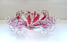 Indiana Oleander Willow Ruby Flashed  punch bowl
