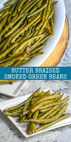 Utilize your smoker to make a brand new addition to the side dish game. With a rich butter bath, these Butter Braised Smoked Green Beans are simply seasoned, but bursting with flavor. They're a side d Bean Recipes, Side Dish Recipes, Baby Food Recipes, Traeger Recipes, Grilling Recipes, Vegetable Side Dishes, Vegetable Recipes, Smoked Green Beans, Smoked Sides