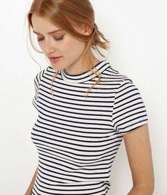 Top col montant en maille côtelée femme Casual, T Shirt, Tops, Women, Fashion, Wall Stud, Stripes, Fashion Ideas, Moda