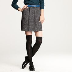 Thigh high socks with loafers and a above-knee skirt. #jcrew
