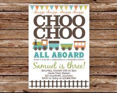 Custom Printable Choo Choo Train Birthday Party Invitation. $10.00, via Etsy.