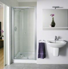 Alcove Bi-fold Shower Door, perfect for my tiny bathroom