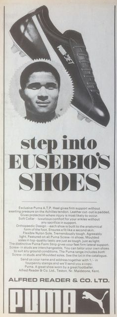 Eusebio of Benfica in Puma Jet Football Boots advert in the 1960s.