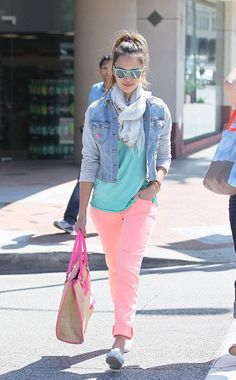 Shop this look on Lookastic:  https://lookastic.com/women/looks/denim-jacket-crew-neck-t-shirt-jeans-loafers-tote-bag-scarf-sunglasses-bracelet-bracelet/10192  — Mint Sunglasses  — Grey Floral Scarf  — Light Blue Denim Jacket  — Mint Crew-neck T-shirt  — Pink Beaded Bracelet  — Yellow Beaded Bracelet  — Pink Jeans  — Beige Canvas Tote Bag  — White Leather Loafers