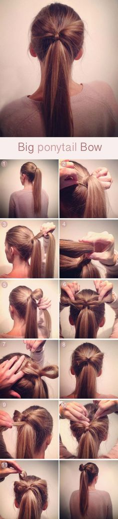 Best Hairstyles for Long Hair - Big Pony Tail Hair Bow - Step by Step Tutorials for Easy Curls, Updo, Half Up, Braids and Lazy Girl Looks. Prom Ideas, Special Occasion Hair and Braiding Instructions for Teens, Teenagers and Adults, Women and Girls http://diyprojectsforteens.com/best-hairstyles-long-hair
