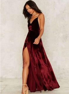 V Neck Backless Velvet Prom Dress - OASAP.com
