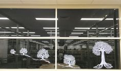 Liquid chalk drawing on the library windows by Kayo Yokoyama