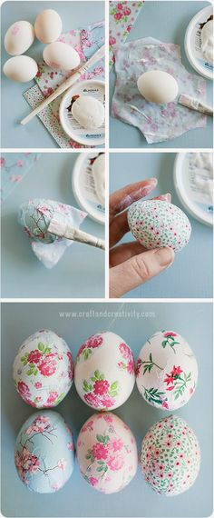 Pretty Awesome Easter Eggs :) one of the best egg decorating ideas out there! You can check these beautiful decoupage eggs plus the tutorial at Craft & Creativity website – enjoy! Spring Crafts, Holiday Crafts, Diy Osterschmuck, Fun Diy, Diy Ostern, Diy Easter Decorations, Ester Eggs Decoration, Ramadan Decorations, Diy Decoration