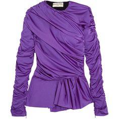 Balenciaga Gathered satin-jersey peplum top ($1,145) ❤ liked on Polyvore featuring tops, peplum tops, purple ruffle top, ruffle top, gathered top and shirred top