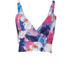 Cameo Rose Blue Floral Print Wrap Bralet